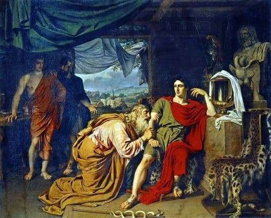 Description of the painting by Alexander Ivanov Priam, requesting the body of Hector from Achilles