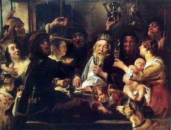 Description of the painting by The Bean King by Jacob Jordaens