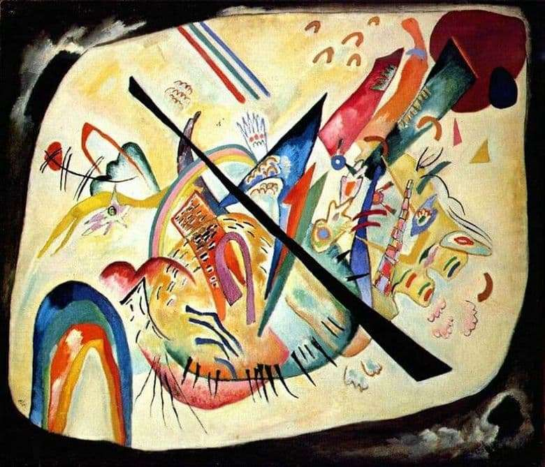 Description of the painting by Wassily Kandinsky White Oval (1919)