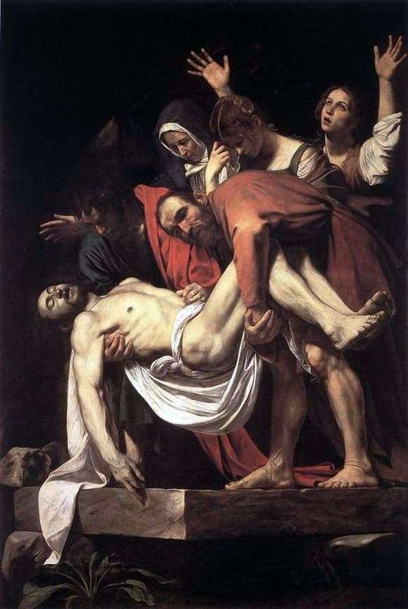 Description of the painting by Michelangelo Merisi da Caravaggio Position in a coffin
