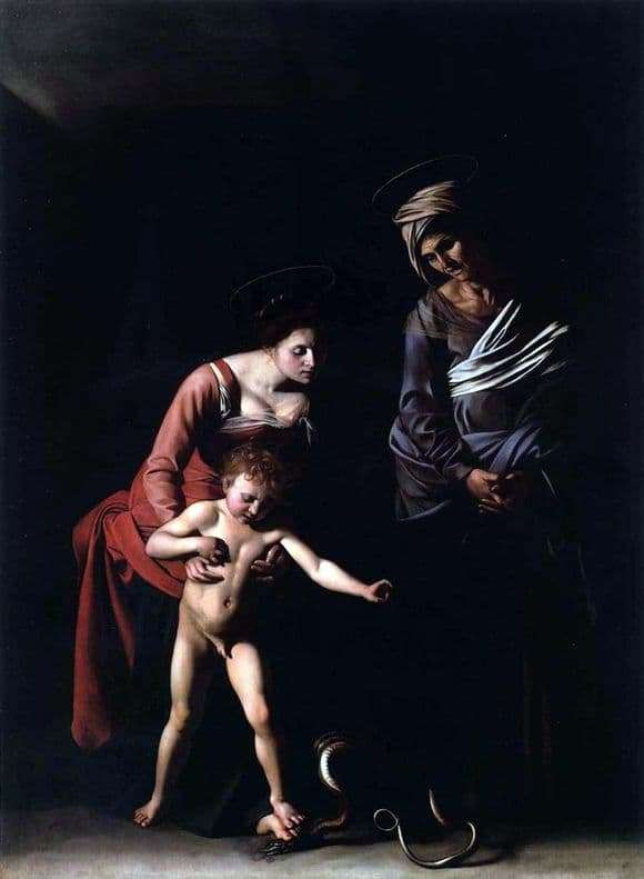 Description of the painting by Michelangelo Merisi da Caravaggio Madonna with a Snake