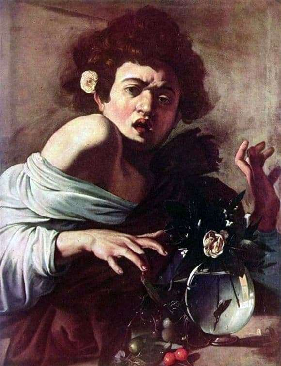 Description of the painting by Michelangelo Merisi da Caravaggio Boy bitten by a lizard