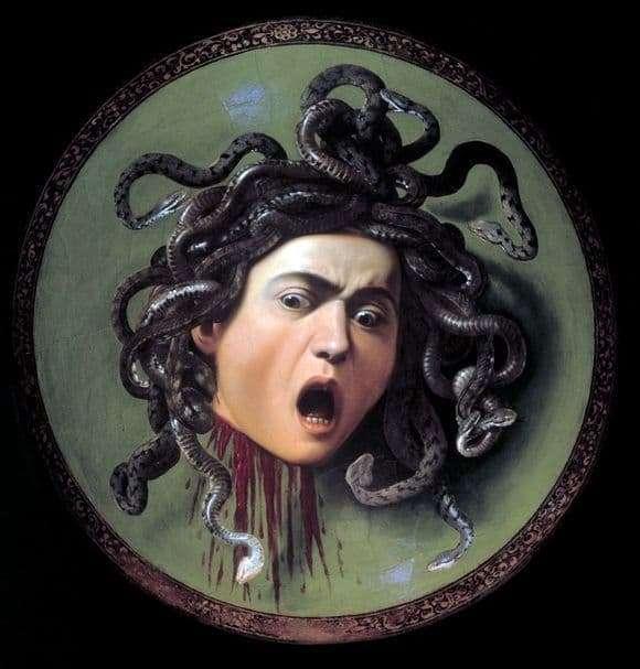 Description of the painting by Michelangelo Merisi da Caravaggio The Head of the Gorgon Medusa