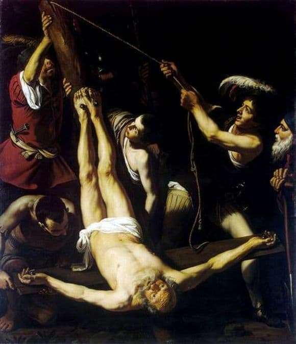Description of the painting by Caravaggio The Crucifixion of St. Peter