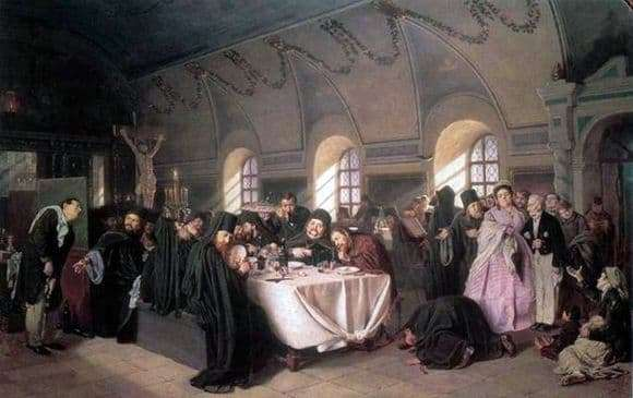 Description of the painting by Vasily Perov Meal