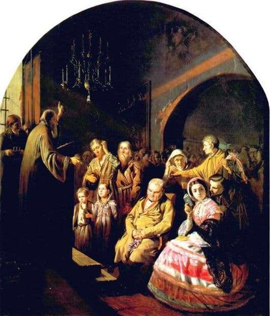 Description of the painting by Vasily Perov Sermon in the village