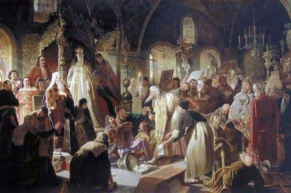 Description of the painting by Vasily Perov Dispute about faith