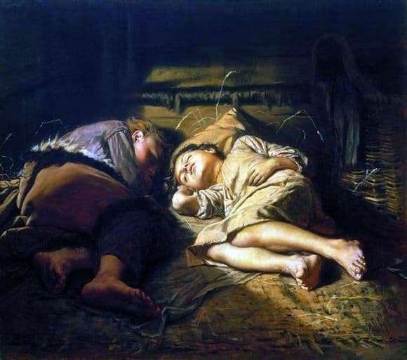 Description of the painting by Vasily Perov Sleeping Children