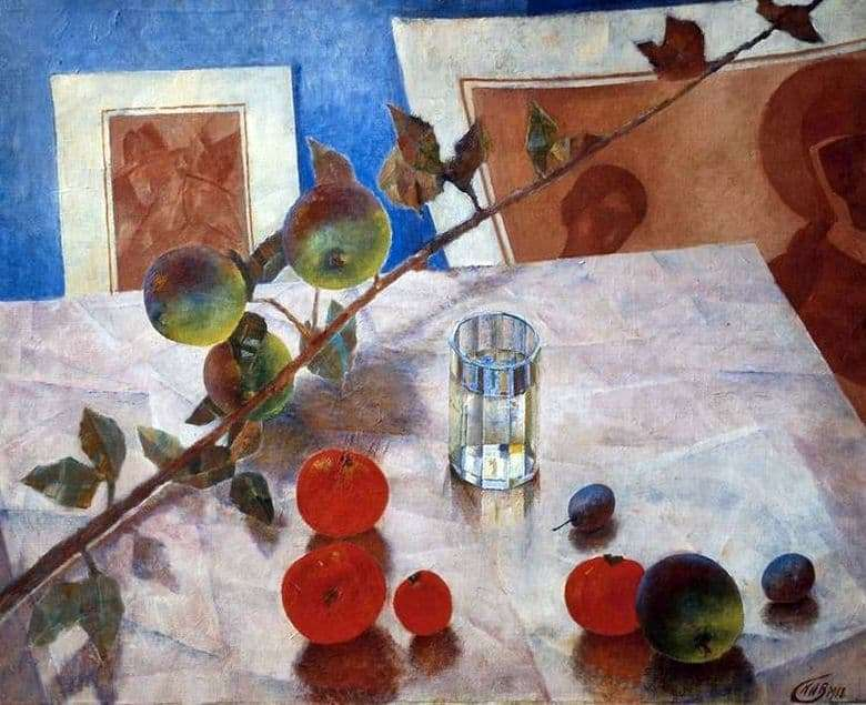 Description of the painting by Kuzma Petrov Vodkin Pink still life