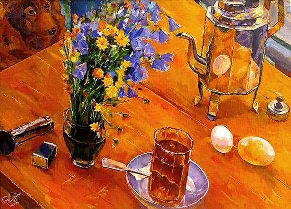 Description of the painting by Kuzma Petrov Vodkin Morning still life