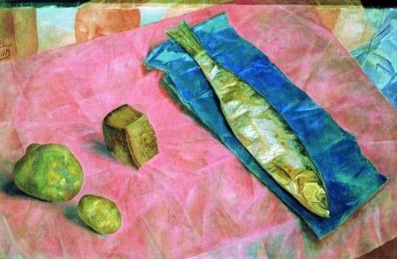 Description of the painting by Kuzma Petrov Vodkin Herring