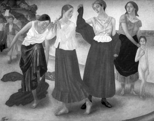 Description of the painting by Kuzma Petrov Vodkin Girls on the Volga