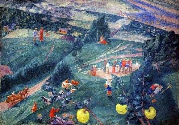 Description of the painting by Kuzma Petrov Vodkin Noon