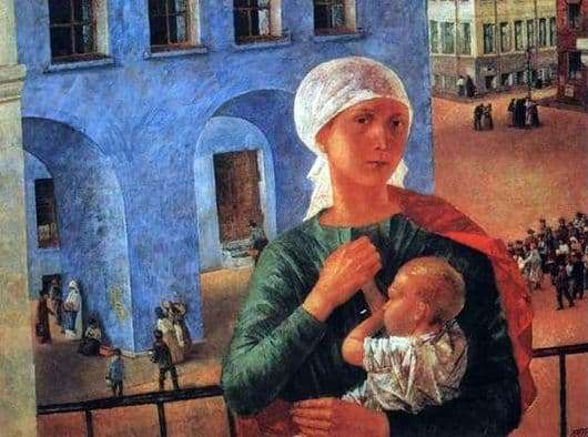 Description of the painting by Kuzma Petrov Vodkin In Petrograd