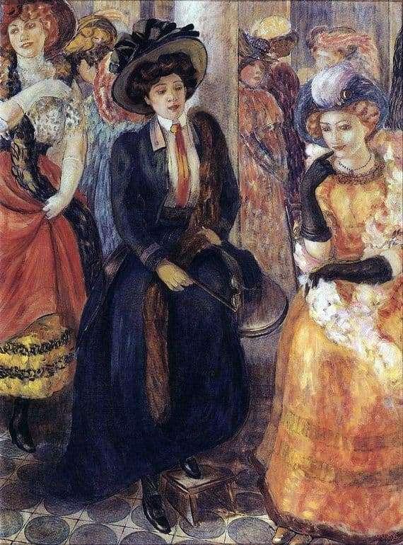 Description of the painting by Kuzma Petrov Vodkin Cafe
