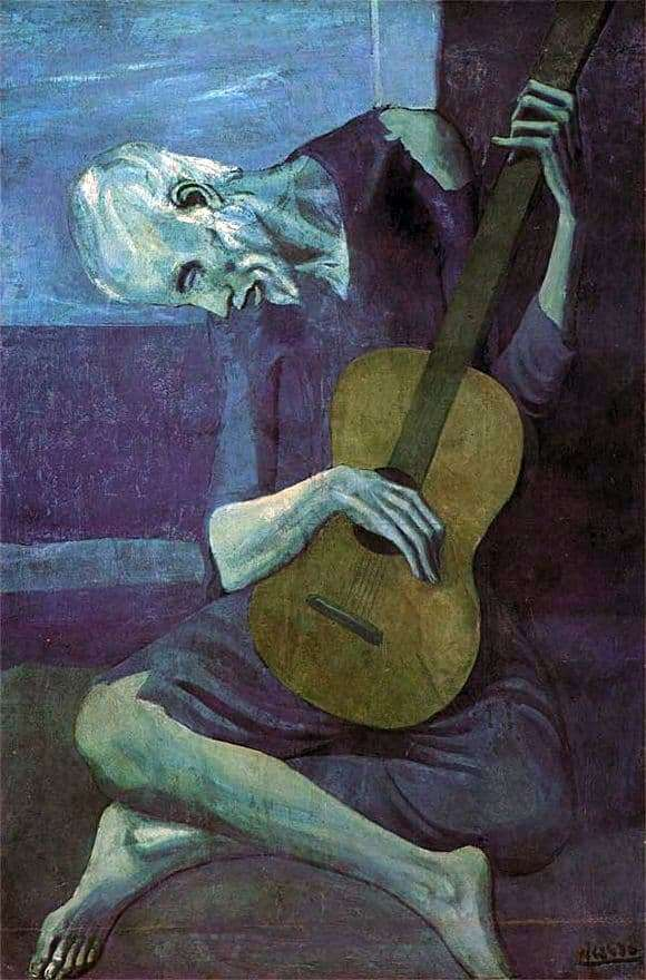 Description of the painting by Pablo Picasso Old guitarist