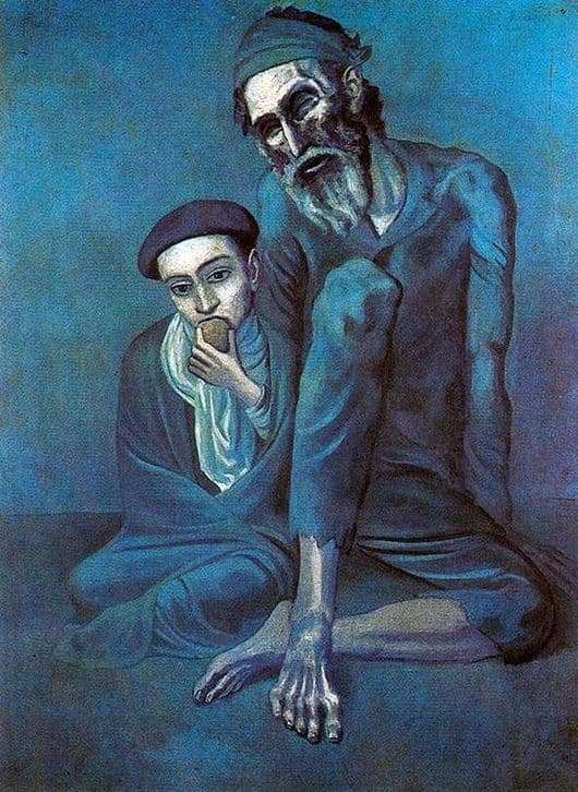 Description of the painting by Pablo Picasso Beggar Old Man with a Boy