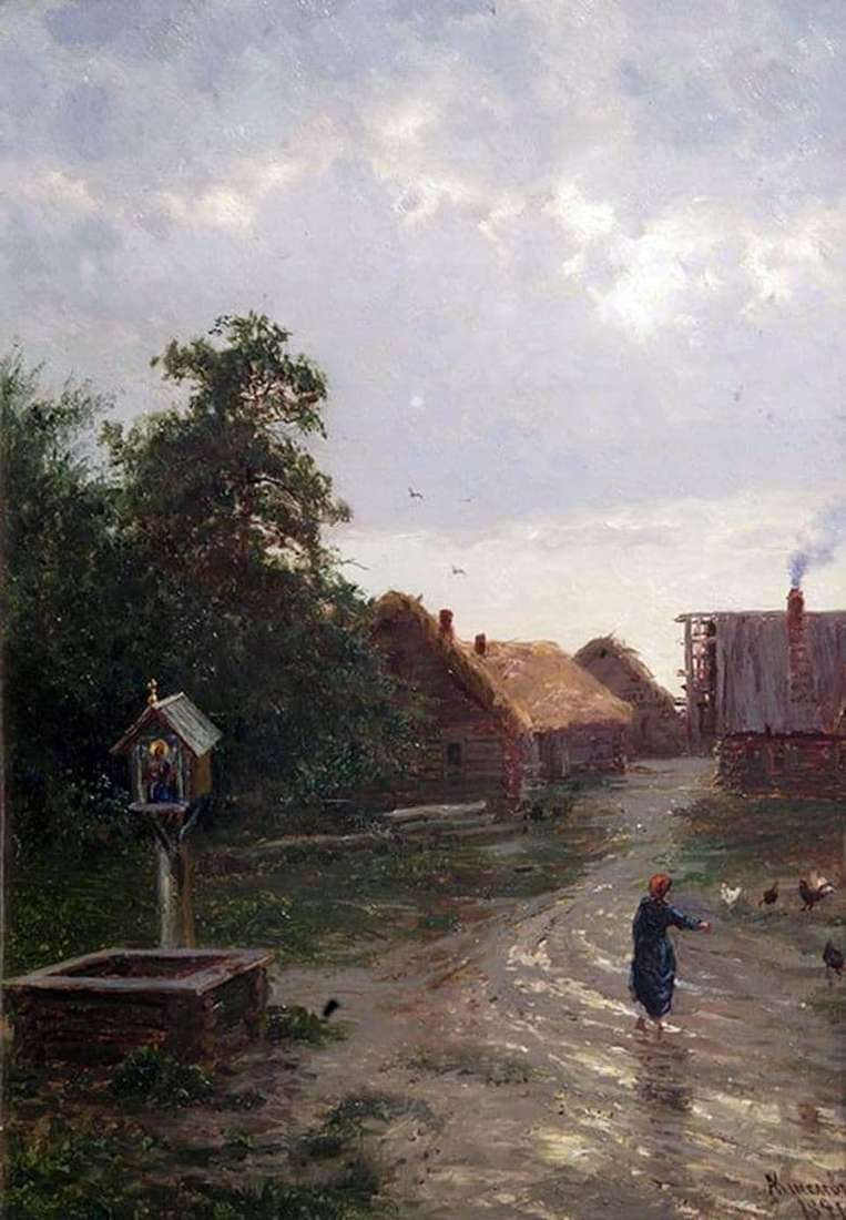 Description of the painting by Alexander Kiselev Entry into the village (1891)