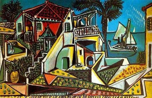 Description of the painting by Pablo Picasso Mediterranean landscape