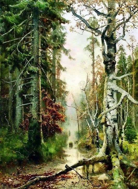 Description of the painting by Julius Klever Autumn in the forest