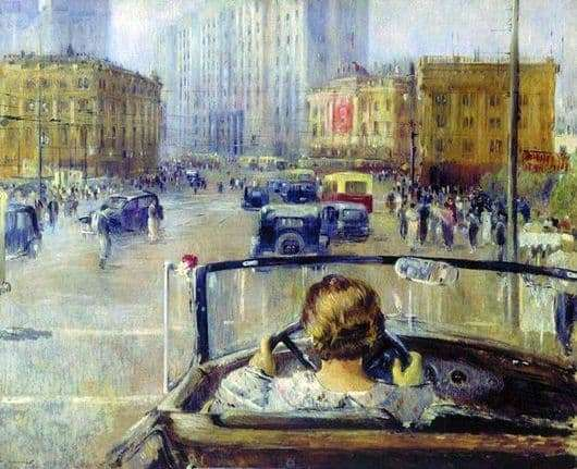 Description of the painting by Yuri Pimenov New Moscow
