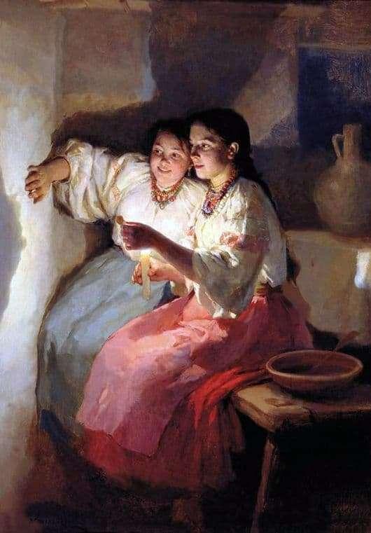 Description of the painting by Nikolai Pymonenko Christmas divination