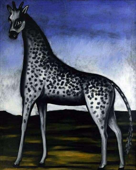Description of the painting by Niko Pirosmani Giraffe