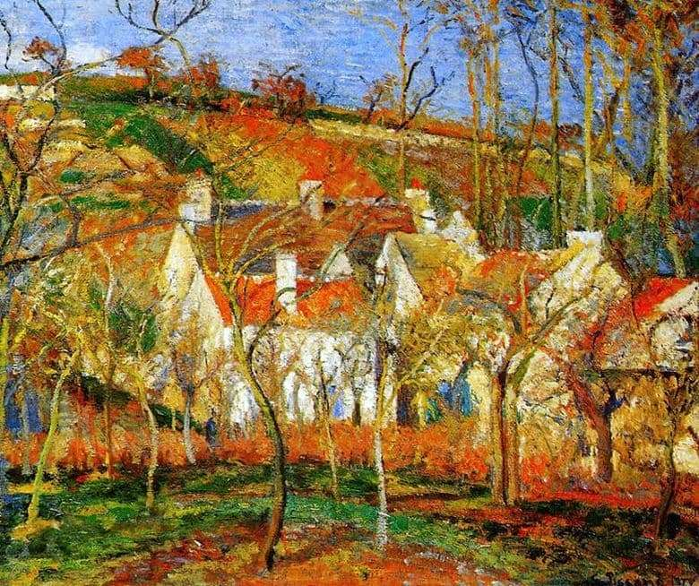 Description of the painting by Camille Pissarro Red roofs