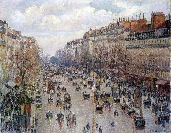 Description of the painting by Camille Pissarro Boulevard of Montmartre in Paris