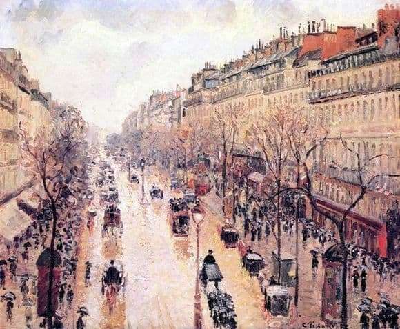 Description of the painting by Camille Pissarro Boulevard of Montmartre