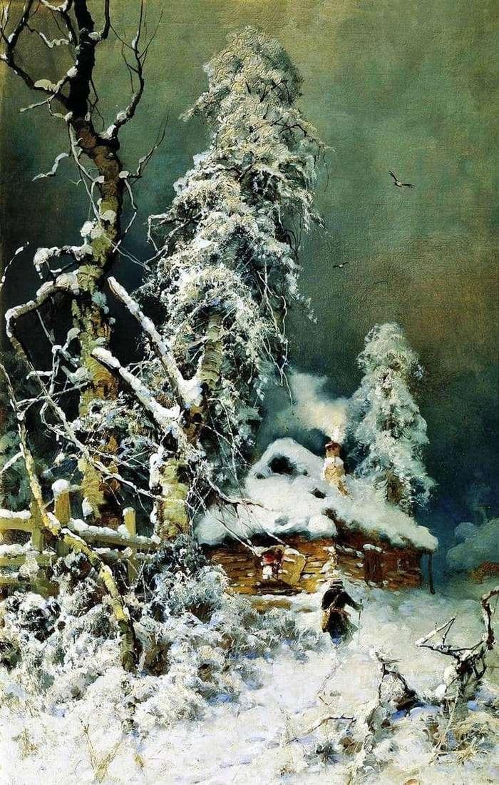 Description of the painting by Julius Klever a Winter landscape with a hut