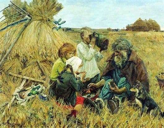 Description of the painting by Arkady Plastov Harvest