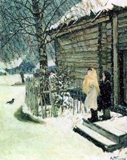 Description of the painting by Arkady Plastov First Snow