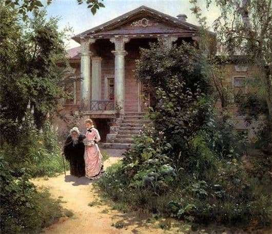 Description of the painting by Vasily Polenov Grandmothers garden