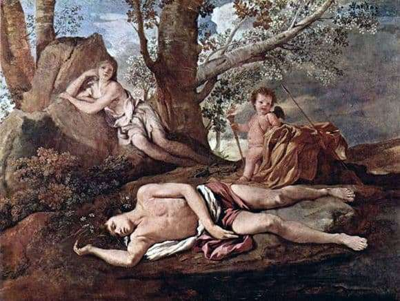 Description of the painting by Nicolas Poussin Narcissus and Echo
