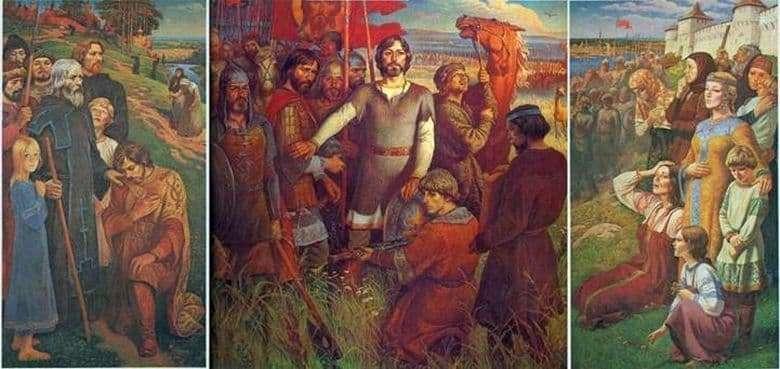 Description of the painting by Yuri Raksha Field Kulikovo