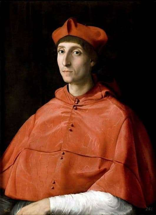 Description of the painting by Raphael Santi Portrait of a Cardinal