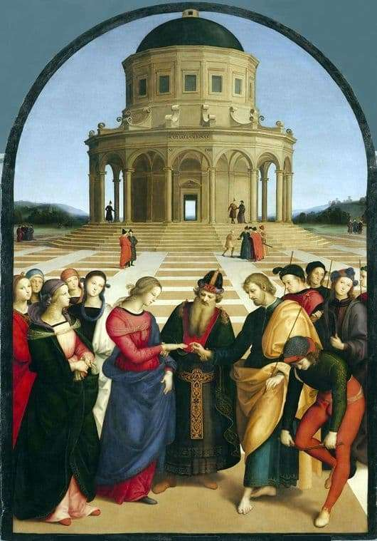 Description of the painting by Raphael Santi The betrothal of the Virgin Mary