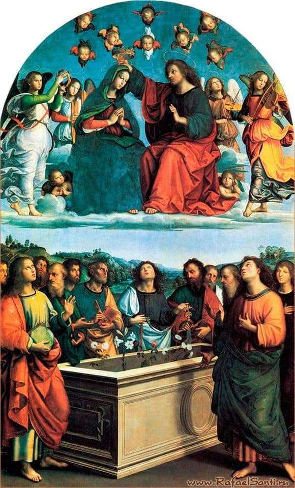 Description of the painting by Raphael Santi The Crowning of Mary