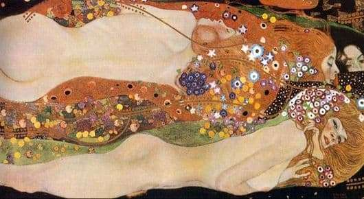 Description of the painting by Klimt Gustav Water snakes