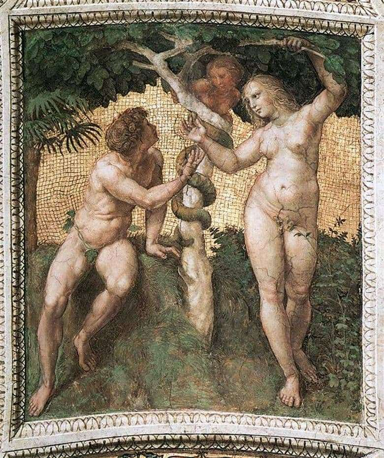 Description of the painting by Raphael Santi Adam and Eve