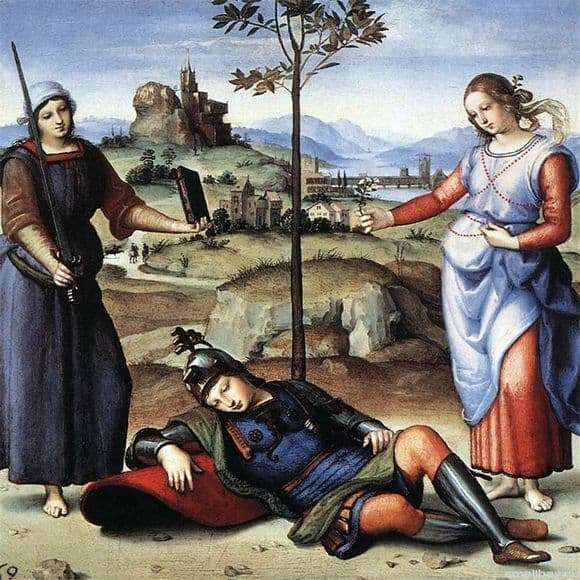Description of the painting by Raphael Santi Dream of a Knight