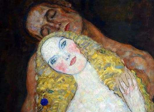 Description of the painting by Gustav Klimt Adam and Eve