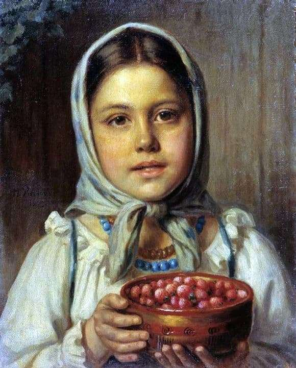 Description of the painting by Nikolai Rachkov Girl with berries