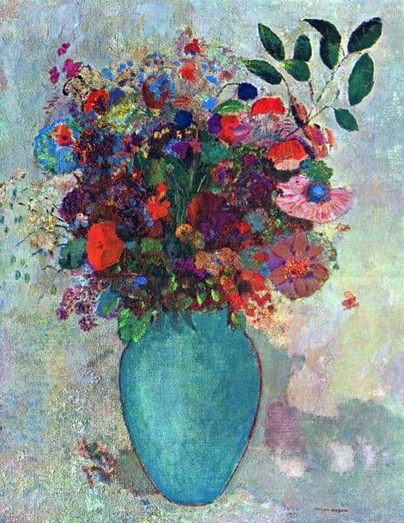 Description of the painting by Odilon Redon Flowers