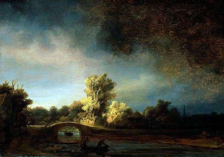 Description of the painting by Rembrandt Harmens van Rijn Landscape with a stone bridge