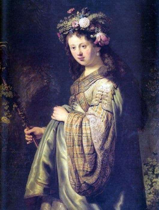 Description of the painting by Rembrandt van Rijn Saskia Flora