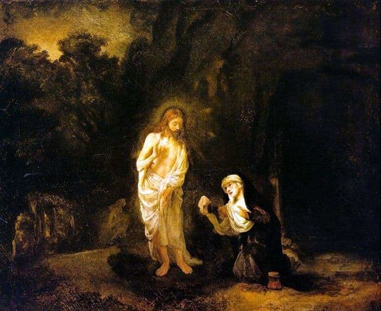 Description of the painting by Rembrandt Harmens van Rijn Appearance of Christ to Mary Magdalene