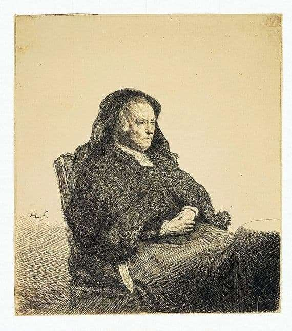 Description of the painting by Rembrandt Harmens Van Rijn Portrait of Rembrandts mother sitting at the table