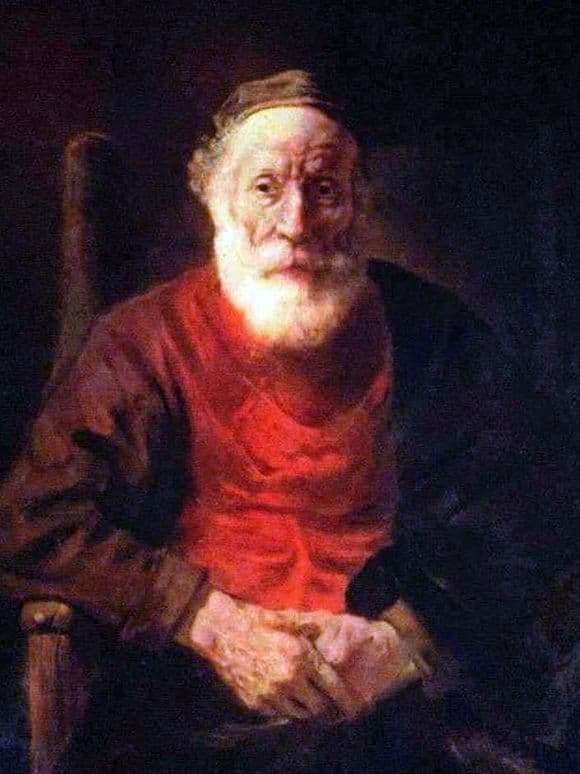 Description of the painting by Rembrandt Harmensz van Rijn Portrait of an old man in red